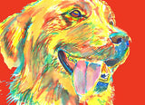 Golden Retriever art print signed Yellow Red home decor, dog art, puppy,Abstract dog portrait print Golden Retriever gift idea - Dog portraits by Oscar Jetson - 3