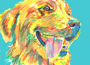 Golden Retriever art print Turquoise, Aqua marine Painting Poster art print Yellow blue Golden Retriever gift idea - Dog portraits by Oscar Jetson