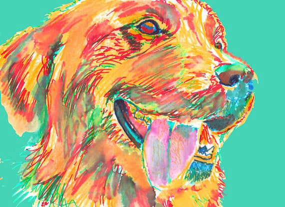 Golden Retriever art, golden retriever print,colorful goldie dog, Retriever gift idea, Goldie mom, golden retriever decor, wall art print - Dog portraits by Oscar Jetson