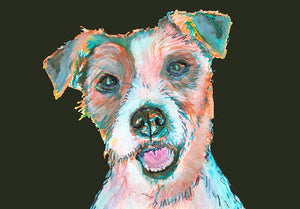 Jack Russell Terrier canvas art print dog portrait hand signed wall art gift idea - Dog portraits by Oscar Jetson