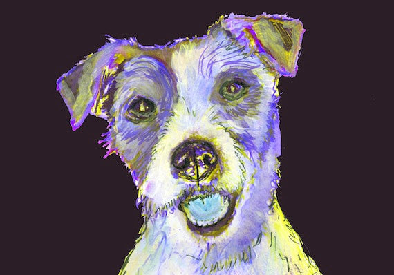 Blue Jack Russell Terrier Painting Poster Print Colorful Jack Russell Dog art print - Dog portraits by Oscar Jetson