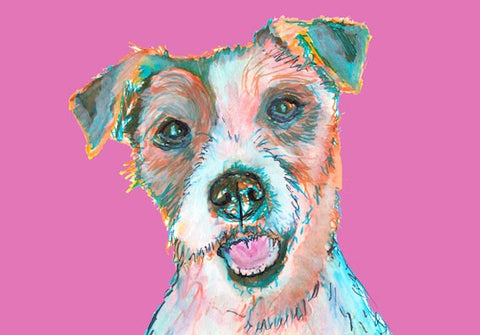 Jack Russell Terrier dog Canvas art Print Pink Jack russell signed art canine gift idea - Dog portraits by Oscar Jetson