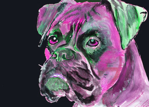 Boxer Dog Canvas print - Pink Green abstract boxer dog painting print - gift idea - Dog portraits by Oscar Jetson