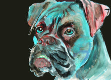 Load image into Gallery viewer, Boxer Dog painting art print, topaz blue, Aqua marine,Topaz Blue and crimson abstract boxer dog wall art home decor boxer dog gift idea - Dog portraits by Oscar Jetson