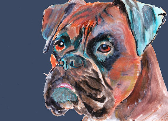 Boxer Dog Portrait Canvas print - Rich Aquamarine Fiery brown boxer dog painting print - hand signed canvas gift idea - Dog portraits by Oscar Jetson