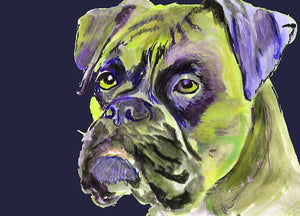 Boxer Dog painting canvas print,Purple Lime green abstract Boxer dog painting print, Boxer dog owner gift idea, Boxer dog canvas wall art - Dog portraits by Oscar Jetson