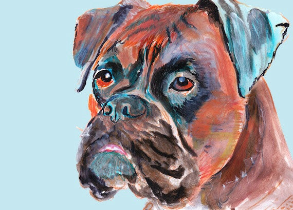 Boxer Dog wall art, Boxer dog Canvas , Boxer dog painting,Boxer Mom Gift, Boxer lover gift, Boxer dog print, Boxer dog art print - Dog portraits by Oscar Jetson