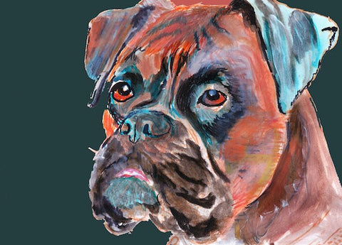 Boxer Dog canvas print,brindle boxer, boxer mom, dog art, boxer owner gift,boxer lover,boxer dog gift, boxer wall art, boxer dog lover print - Dog portraits by Oscar Jetson