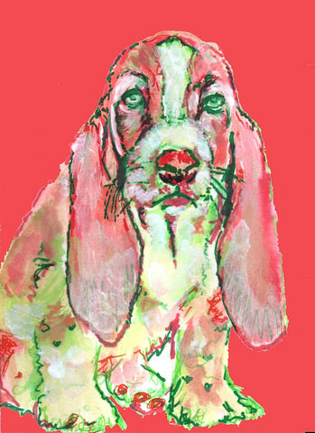 Basset Hound Dog Painting Basset Hound Art print Red - Dog portraits by Oscar Jetson