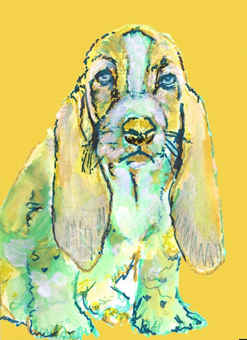 Basset Hound dog painting art canvas print hand signed colorful dog portrait print - Dog portraits by Oscar Jetson