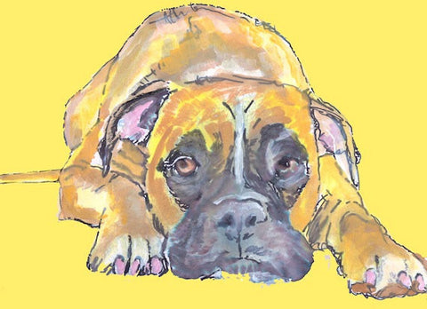 Boxer Dog print - Boxer Dog poster art  Portrait - Signed -Watercolor acrylic boxer dog painting gift idea dog art print - Dog portraits by Oscar Jetson