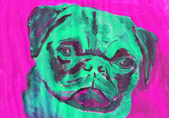 Pug Painting portrait Aquamarine Pink colorful Abstract dog art Puglife Pug gift Signed 29.7 x 42.0cm, 11.69 x 16.53 inch-holiday gift idea - Dog portraits by Oscar Jetson