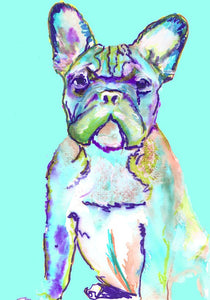 French Bulldog Print from Original Artist Signed Frenchie Dog Canine Art Aquamarine - canine gift idea - Dog portraits by Oscar Jetson
