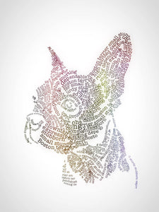 Boston terrier art, Boston terrier lover Word art print, unique boston terrier gift, Boston bull terrier, Boston terrier mom, wall art print - Dog portraits by Oscar Jetson
