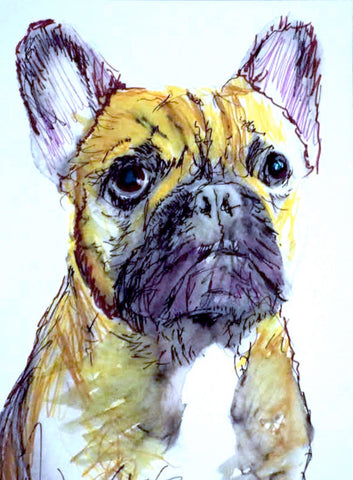 French bulldog painting art print yellow ochre, midnight purple, French bulldog gift idea, frog dog, bulldog decor frenchie art print - Dog portraits by Oscar Jetson