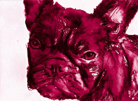 French Bulldog Painting Print, French Bulldog Watercolor painting print, French bulldog owner gift. Purple French bulldog art print - Dog portraits by Oscar Jetson