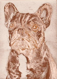 French Bulldog Painting Poster Print Modern art Copper Bronze Brass Print - hand signed dog art frenchie wall artfrench bulldog print - Dog portraits by Oscar Jetson