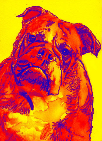 British Bulldog owner gift, Bulldog art print, colorful dog painting, dog wall art,Red yellow bulldog picture, Bulldog watercolor print - Dog portraits by Oscar Jetson