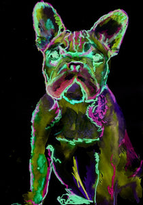 French bulldog print abstract modern glowing colors green pink signed fine art print large home decor gift idea - Dog portraits by Oscar Jetson