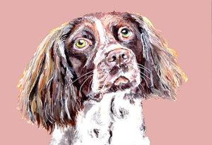 Springer Spaniel print, Salmon pink and chocolate, Fine art print, Spaniel wall art, Springer spaniel dog, gift idea - Dog portraits by Oscar Jetson