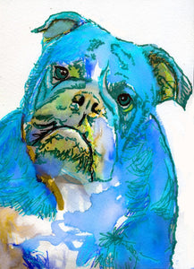 Electric Blue Bulldog art print striking colors cute bulldog expression hand signed painting print gift idea - Dog portraits by Oscar Jetson