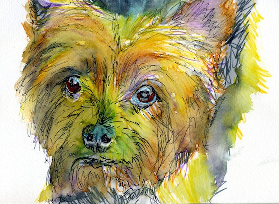 Yorkshire Terrier print, Yorkie wall art, yorkie mom gift,yorkie art print,Dog painting,dog loss,gift for yorkshire terrier owner - Dog portraits by Oscar Jetson