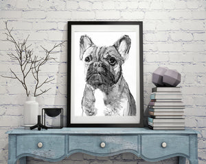 French Bulldog decor, art Print,  Frenchie Dog Art, french bulldog, black and white, dog loss gift, frenchie decor, french bulldog wall art - Dog portraits by Oscar Jetson