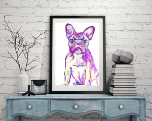 French Bulldog Pink and Green Frowning Frenchie Print from Original  Painting Dog Portrait Pink Canine Art french bulldog gift idea - Dog portraits by Oscar Jetson