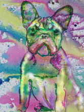 Load image into Gallery viewer, French Bulldog Watercolor art print, Frenchie Painting, Pink and Green, Dog art, French Bull art, Puppy dog abstract art Print - Dog portraits by Oscar Jetson
