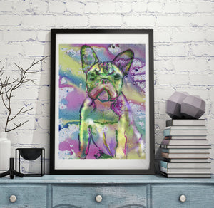 French Bulldog Watercolor art print, Frenchie Painting, Pink and Green, Dog art, French Bull art, Puppy dog abstract art Print - Dog portraits by Oscar Jetson