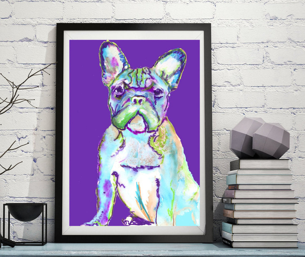 French Bulldog Dog Painting Purple, French Bulldog Print , watercolor art  print Frenchie Dog Art french bulldog gift idea frenchy art print - Dog portraits by Oscar Jetson