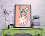 French Bulldog painting,art Print ,tangerine, peach frowning french bulldog, home decor frenchie art print, cute french bulldog art print - Dog portraits by Oscar Jetson