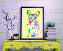 Load image into Gallery viewer, French Bulldog Print from Original Artist Signed Frenchie Dog Canine Art Yellow - canine gift idea - Dog portraits by Oscar Jetson
