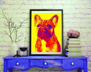 French Bulldog art print dog painting Giclee Print colorful modern art French Bulldog gift idea frenchie painting french bulldog print - Dog portraits by Oscar Jetson