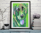 Labrador dog  print Colorful abstract, Green labrador dog print, Dog Labrador gift idea - Dog portraits by Oscar Jetson