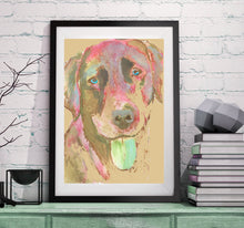 Load image into Gallery viewer, Labrador dog painting funky print Colorful abstract dog art Red Green Labrador abstract Labrador gift. Lab dog print - Dog portraits by Oscar Jetson