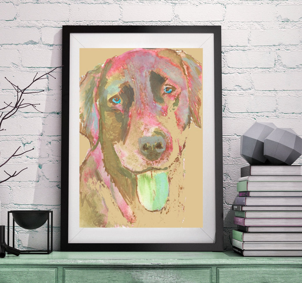 Labrador dog painting funky print Colorful abstract dog art Red Green Labrador abstract Labrador gift. Lab dog print - Dog portraits by Oscar Jetson