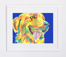 Load image into Gallery viewer, Golden Retriever art Print from original watercolor painting hand signed Yellow navy blue Lab dog gift - Dog portraits by Oscar Jetson
