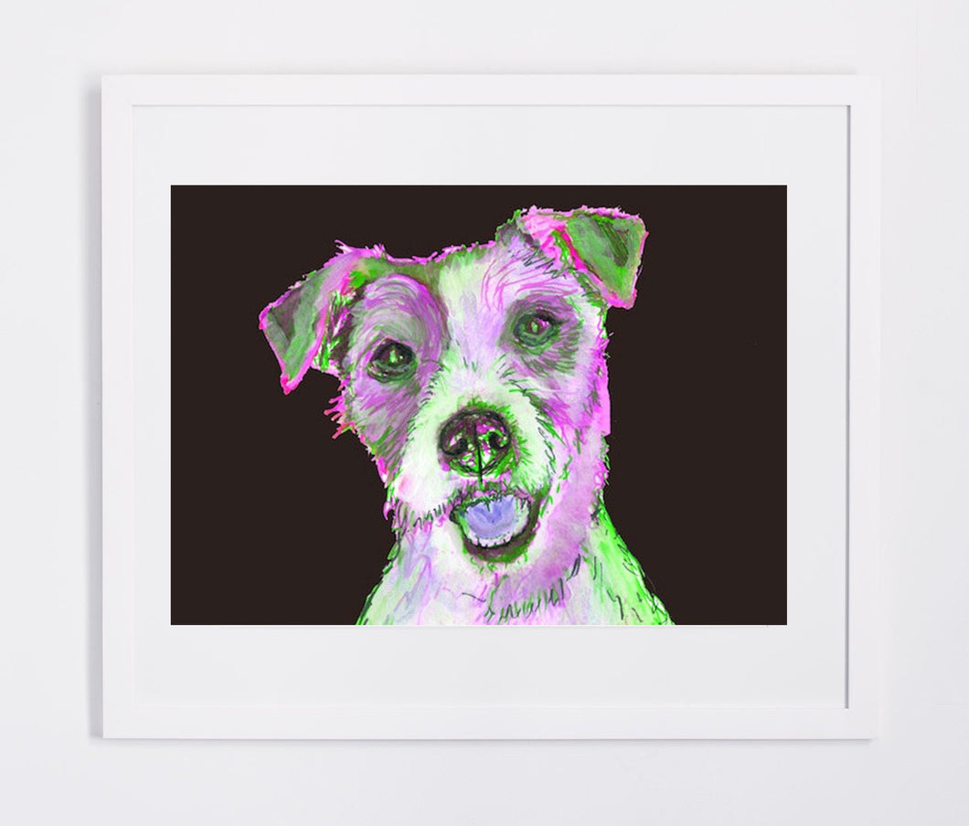 Jack Russell Terrier Painting Print Jack russell art print hand signed Colorful  fine art print dog portrait - Dog portraits by Oscar Jetson