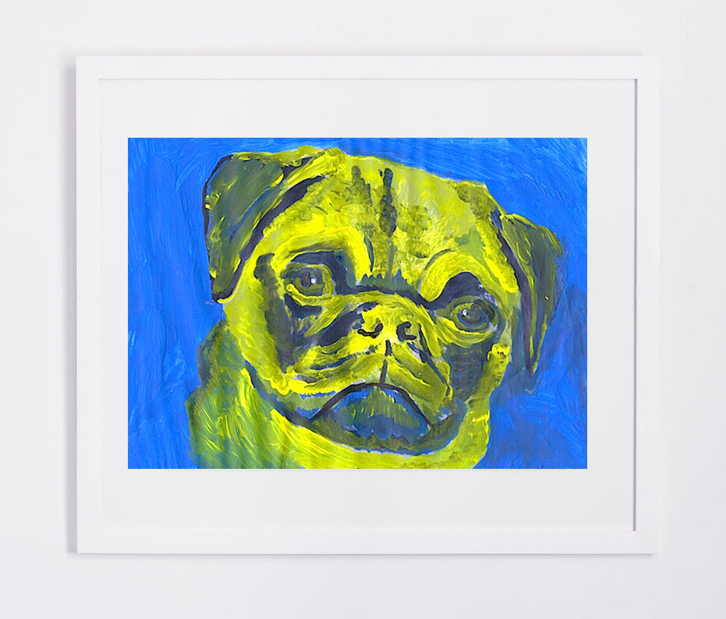 Pug Painting Print Pug face art print from Original Artist Signed Colorful Canine Art Dog painting Pug gift idea - Dog portraits by Oscar Jetson