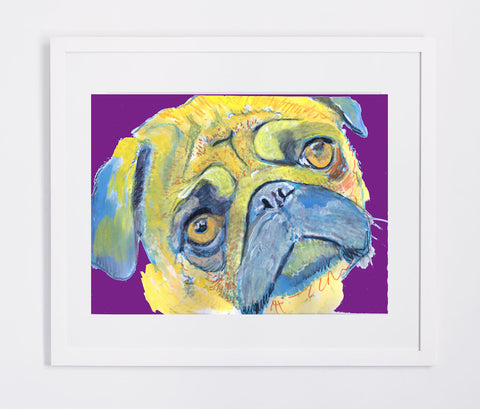 Pug Dog Painting Print, Colorful Pug, colourful Yellow Purple Pug print, Pug owner gift idea, Yellow pug dog, Pug wall art, Pug owner gift - Dog portraits by Oscar Jetson - 1