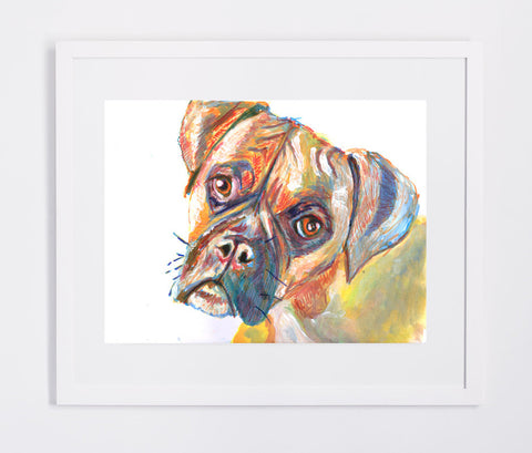Boxer Dog art print Orange earth tones dog print from Original Watercolor and Acrylic Painting Orange Canine Art - Boxer dog gift idea - Dog portraits by Oscar Jetson - 1