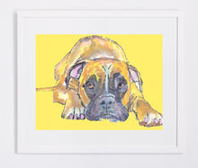 Load image into Gallery viewer, Boxer Dog wall art print, Boxer dog gift, boxer mom gift, Boxer dog art Print, boxer dog painting, gift for boxer owner, boxer dog wall art - Dog portraits by Oscar Jetson