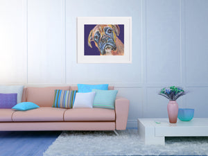 Boxer Dog Painting Print, Colorful Brindle Boxer dog art, Gift for Boxer dog owner, Boxer dog picture, Dog painting,Colorful Boxer Dog print - Dog portraits by Oscar Jetson