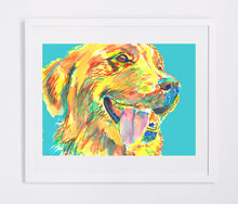 Load image into Gallery viewer, Golden Retriever art print Turquoise, Aqua marine Painting Poster art print Yellow blue Golden Retriever gift idea - Dog portraits by Oscar Jetson