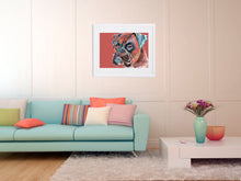 Load image into Gallery viewer, Boxer Dog painting art print brindle boxer dog illustration Orange brown aqua marine dog art print boxer gift idea - Dog portraits by Oscar Jetson
