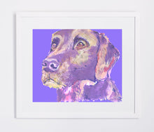 Load image into Gallery viewer, Labrador retriever Dog Painting Poster Print watercolor,acrylic painting print Purple Blue expressive style dog Lab print - Dog portraits by Oscar Jetson