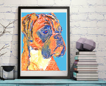Load image into Gallery viewer, Boxer Dog wall art, Boxer mom gift, Boxer lover, boxer dog illustration, Blue Orange Boxer dog, boxer dog decor, boxer dog art, wall hanging - Dog portraits by Oscar Jetson
