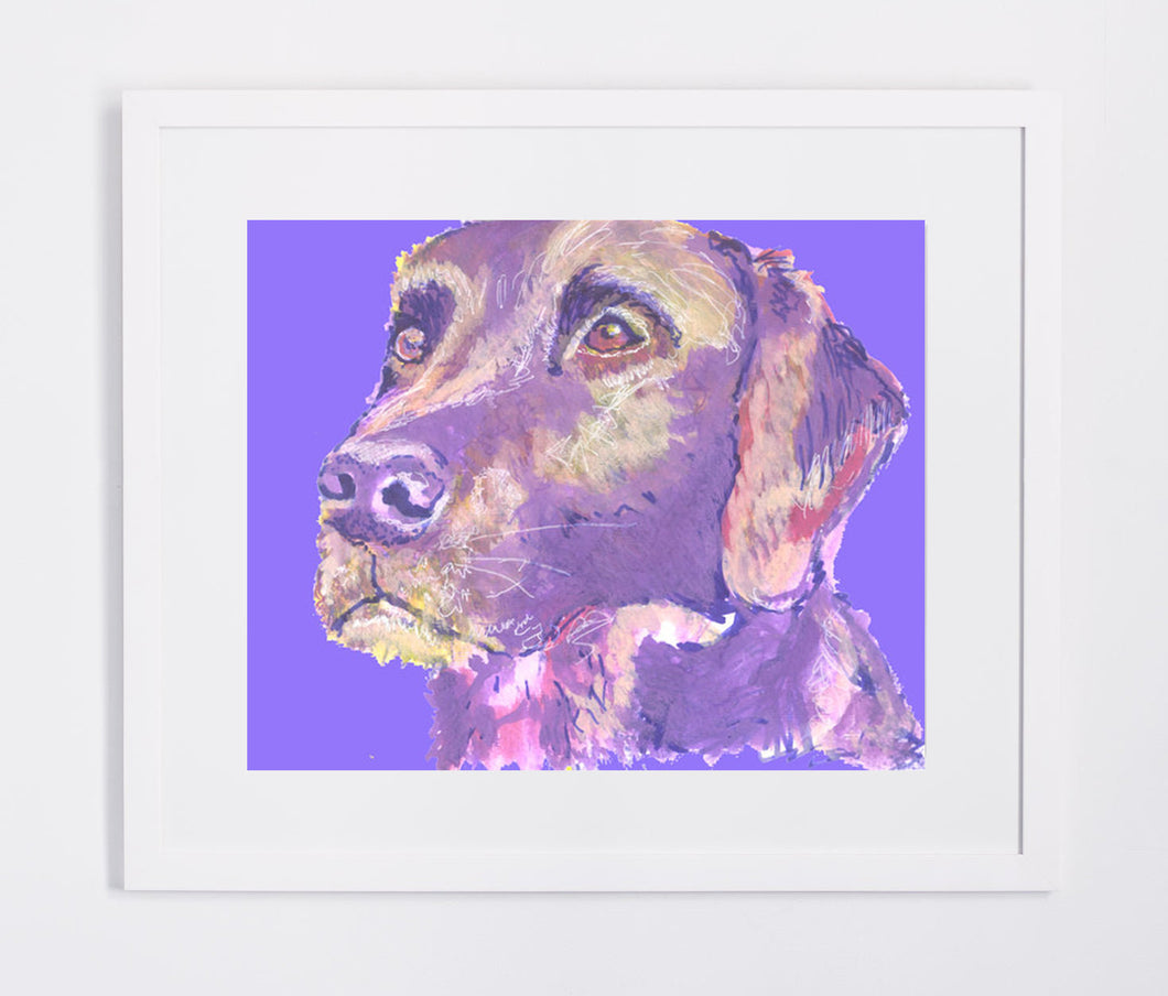 Labrador Dog Watercolor art Print Purple Blue dog painting, Dog, Lab, Violet home decor wall art Labrador retriever print - Dog portraits by Oscar Jetson