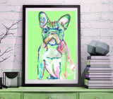 French Bulldog art print, illustration, Green home decor, Frenchie dog,Watercolor,Acrylic French bull gift idea art print - Dog portraits by Oscar Jetson